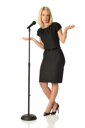 Woman at microphone